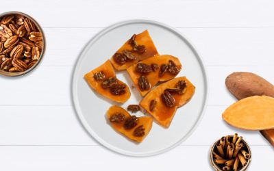Candied pecans on sweet potato toast